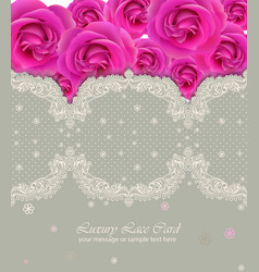 Pink roses lace card delicate summer card vector