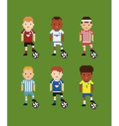 Pixel art style set - football soccer vector