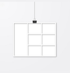 Realistic white paper photo frame hanging with vector