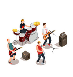 Rock band isometric composition vector