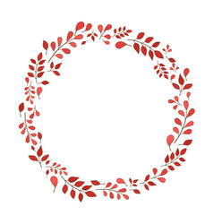 Romantic red fern wreath for decoration vector