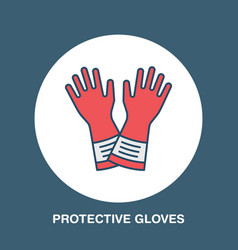 safety gloves hand protection flat line icon vector image