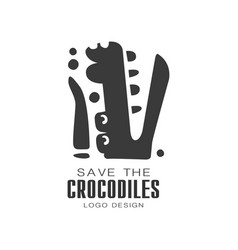 Save the crocodiles logo design protection of vector