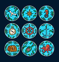 sea adventures sticker set marine hand drawn vector image