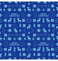 seamless retro blue christmas pattern with deers vector image