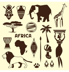 set african ethnic style icons in flat style vector image