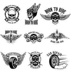 Set biker emblems on white background racers vector