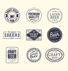 set of isolated stickers for beer beermatcoaster vector image