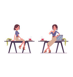 sexy secretary posing near the working desk vector image