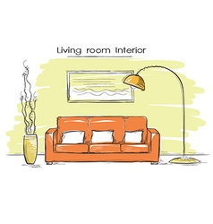 Sketchy of living room color interior hand d vector image