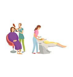 Spa procedure for hair in beauty salon cartoon set vector
