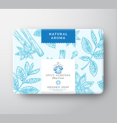 Spicy almonds nut soap cardboard box abstract vector