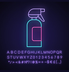 Spray bottle neon light icon dump sprayer vector