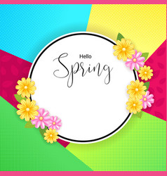 Spring banner background with flower frame in vector