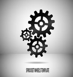 Sprocket wheels motif on divided background in vector