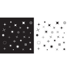 Stars sparkles sign symbol set cute shape vector