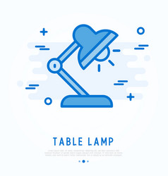Table lamb with bulb thin line icon vector