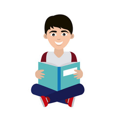 Teen with open book sitting reading home education vector