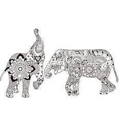 Two elephants with oriental patterns vector