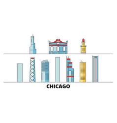 United states chicago city flat landmarks vector