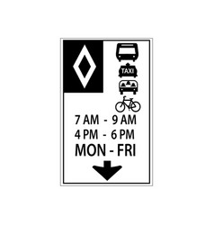 usa traffic road signsthis lane reserved vector image