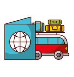 van car passport and luggage travel vacations vector image