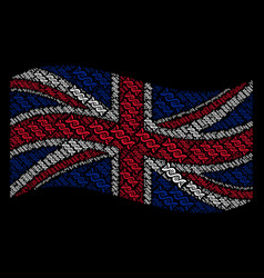 Waving great britain flag collage of dna spiral vector