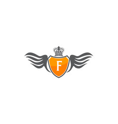 wing shield crown initial f vector image