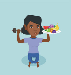 young african woman holding fruits and dumbbell vector image