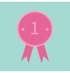 Badge with number one and ribbons Award icon vector image