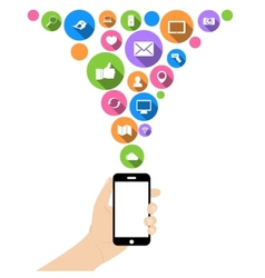 Hand hold phone with icons vector image