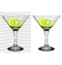 Transparent and opaque full martini glasses vector image vector image