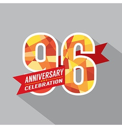 96th Years Anniversary Celebration Design vector image