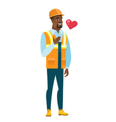 african-american builder holding hand on his chest vector image vector image