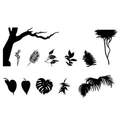 black jungle plants silhouettes set vector image