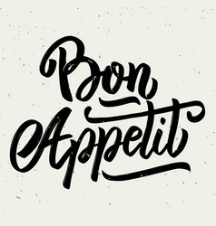 bon appetit hand drawn lettering phrase isolated vector image