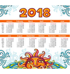 calendar 2018 year celestial style week starts vector image vector image