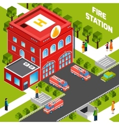 Fire Department Building Isometric Concept vector image vector image