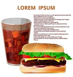 glass of cola hamburger fast food menu vector image vector image