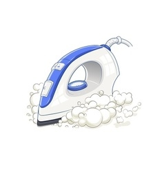 Iron with steam Home device vector image vector image