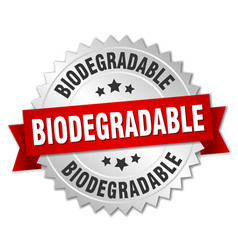 Biodegradable round isolated silver badge vector