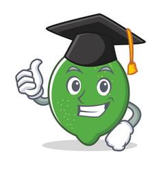 Graduation lime character cartoon style vector