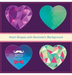 Heart Shapes with Geometric Grunge Background vector image