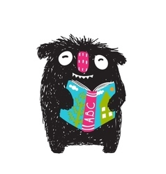 Monster reading abc book cartoon for kids vector