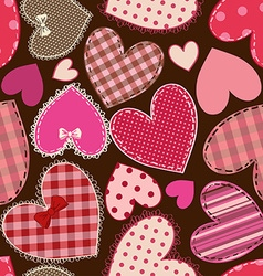 Seamless pattern of heart patchworks vector image vector image
