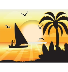 Sunset Beauty card vector image