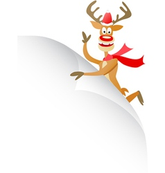 christmas deer with blank page vector image vector image