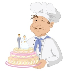 Cook with holiday wedding cake vector image vector image