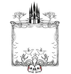 doodle frame Halloween bones bats and skulls vector image vector image