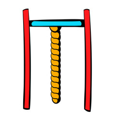 horizontal bar with rope icon icon cartoon vector image vector image